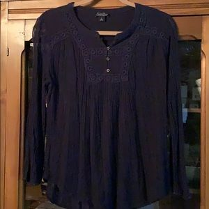 Lucky navy size L embroidered blouse. Light weight